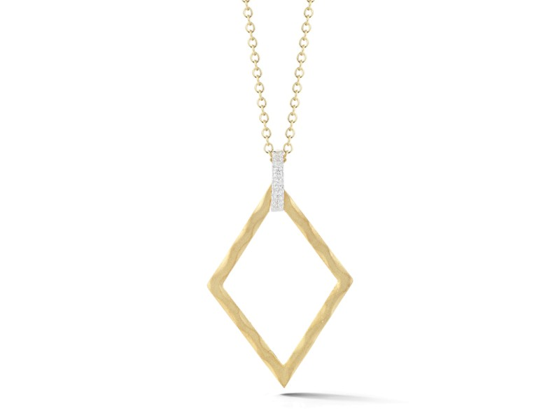 I.Reiss Matte And Hammer-Finished Open Diamond-shaped Pendant