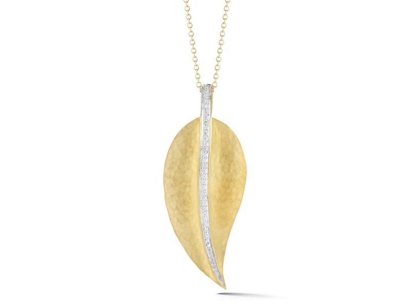 I.Reiss Matte And Hammer-Finish Leaf Pendant