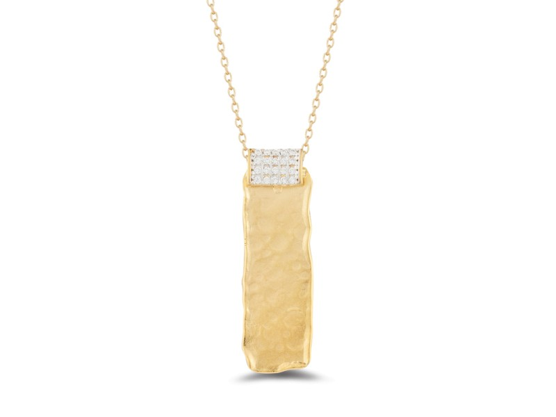 I.Reiss Matte And Hammer-Finished Rectangular Pendant