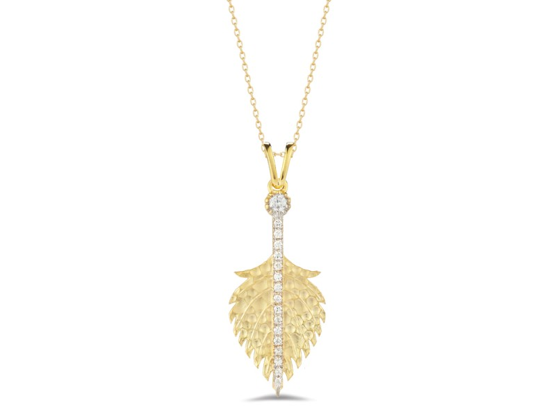 I.Reiss Matte And Hammer-Finished Feather Pendant