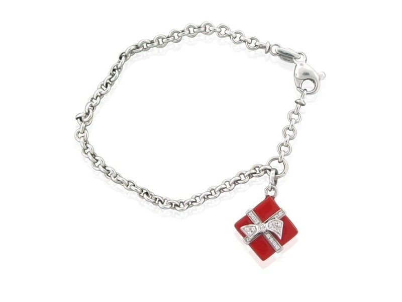 Roberto Coin Diamond 18 K White Gold Red Enamel Charm Bracelet