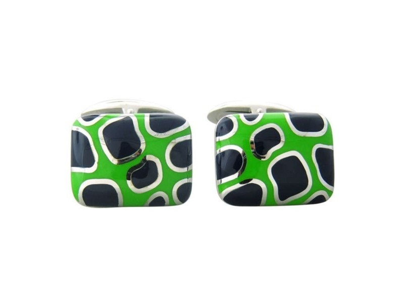 Roberto Coin 18K Gold Blue Green Enamel Cufflinks
