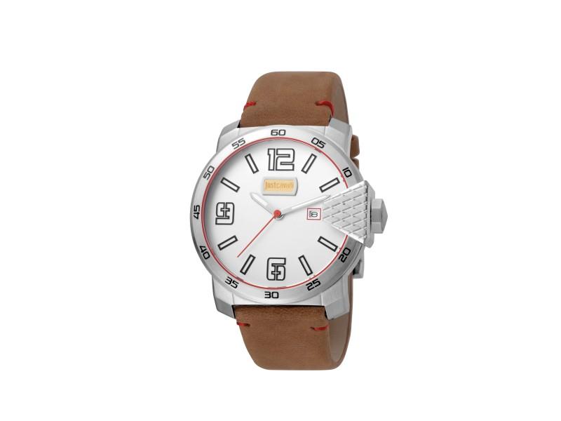 Just Cavalli Men's Rock Blod XXL Silver Dial Calfskin Leather Watch