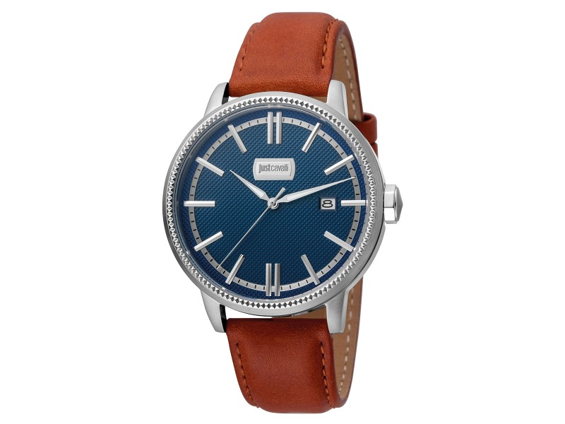 Just Cavalli Men's Relaxed Patch Blue Dial Calfskin Leather Watch