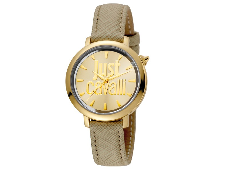 Just Cavalli Women's Logo Logomania Gold Dial Calfskin Leather Watch