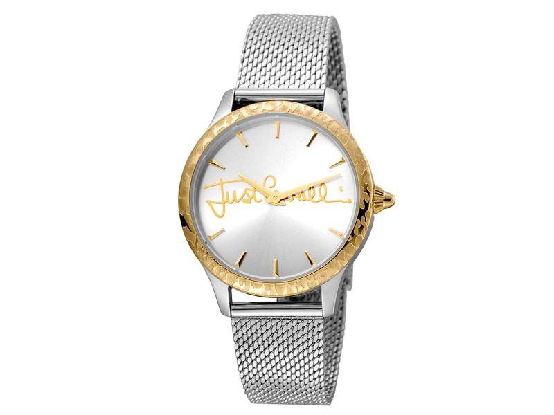 Just Cavalli Women's Logo Silver  Dial Stainless Steel Watch