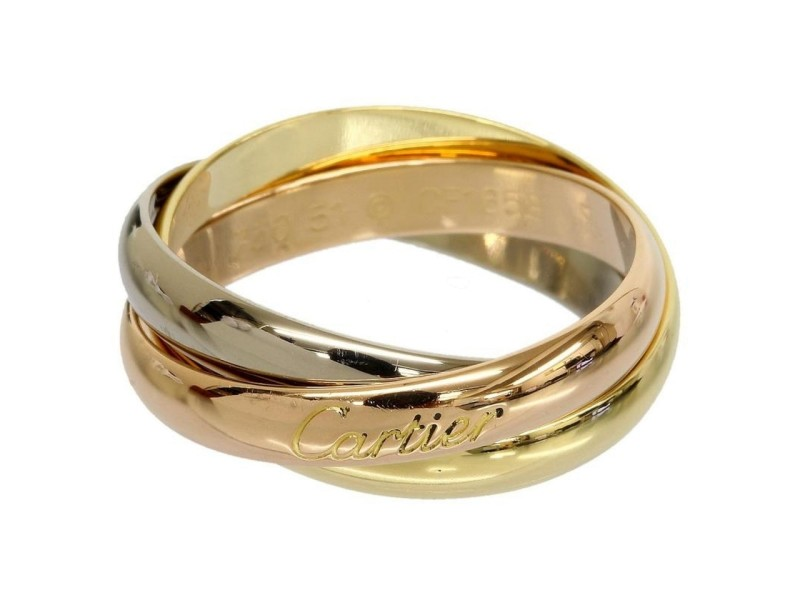 Cartier 18K Yellow/White/Pink Gold Trinity 3 Bands Ring Size: 7.5
