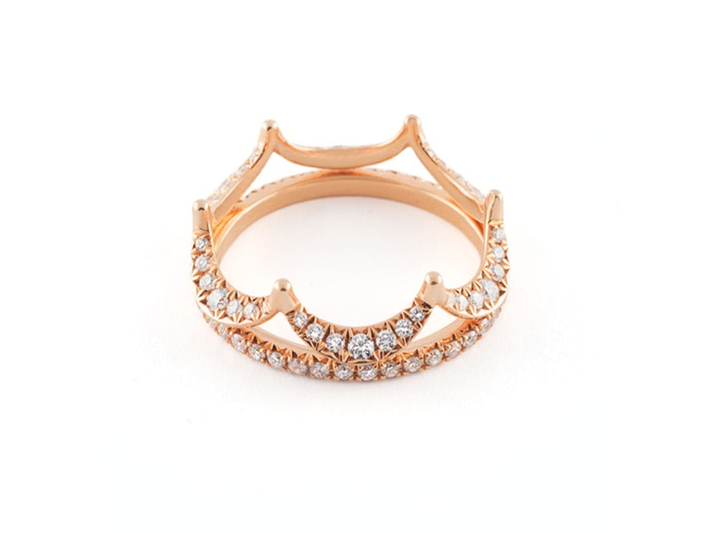 Jado Crown Eternity Rose Duo 18k Rose Gold Diamonds Ring