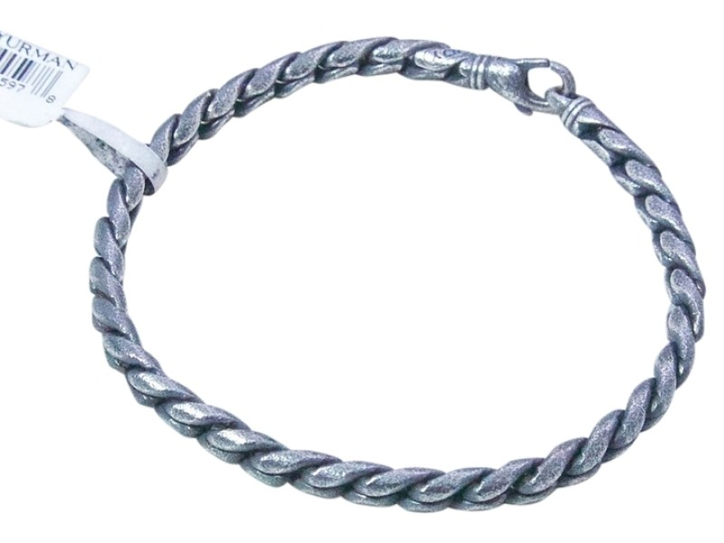 David Yurman Sterling Silver 4mm Stippled Cobra Chain Bracelet