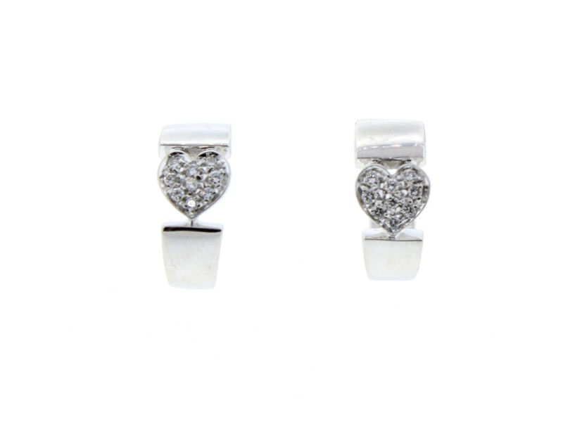 Piaget 18K WG Diamond Heart Earrings