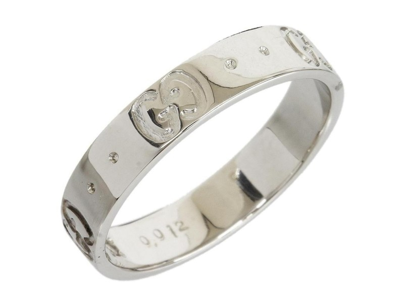 Gucci 18K White Gold 1P Diamond ICON Band Ring