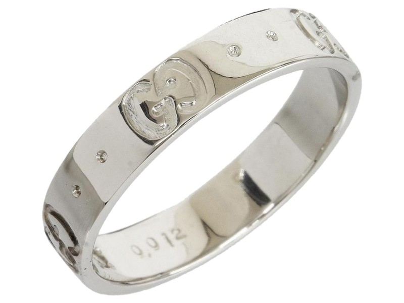 Gucci 18K White Gold 1 Diamond ICON Band Ring