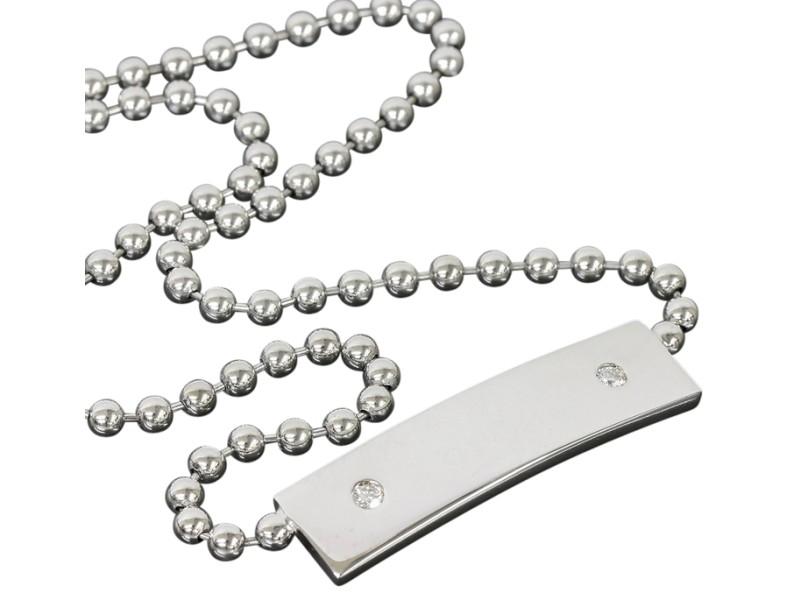 Gucci 18k White Gold Tag Diamonds Pendant Necklace