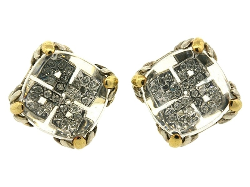 John Hardy 925 Sterling Silver 18k Gold Batu Lens Pave Diamond Earrings