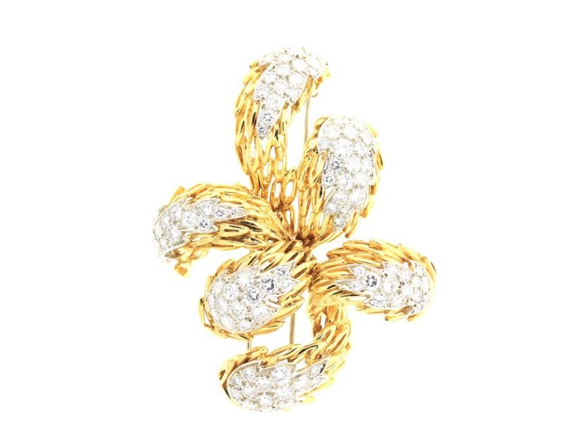 Tiffany & Co. 18k Yellow gold tiffany Diamond brooch