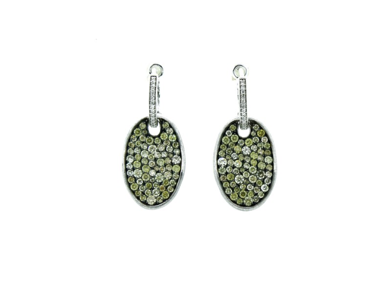 14K White Gold and Diamond Dangle Earrings