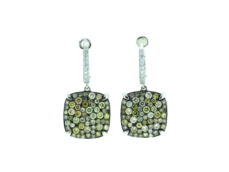 14K White Gold Colored Diamond Earrings