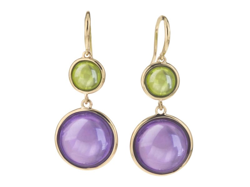 Goshwara Mischief 18k Yellow Gold  Amethyst, Peridot Earrings