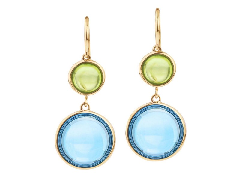Goshwara Mischief 18k Yellow Gold  Blue Topaz, Peridot Earrings