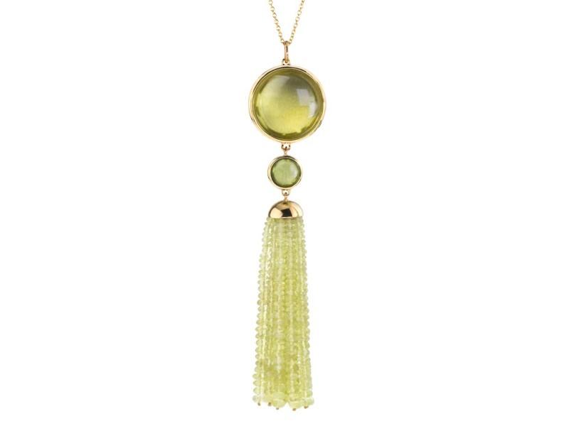 Goshwara Mischief 18k Yellow Gold  Lemon Quartz, Peridot Pendant