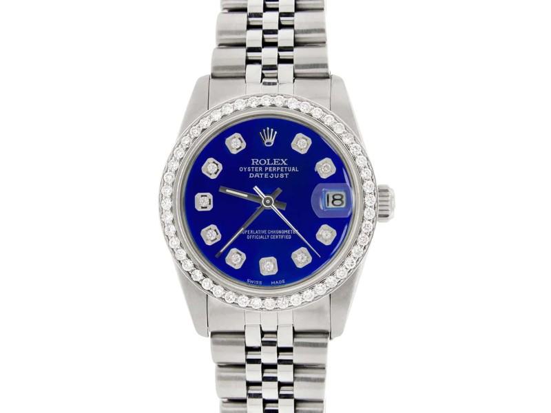 Rolex Datejust Midsize 31MM Automatic Steel Women's Watch w/Custom Blue Dial & Diamond Bezel