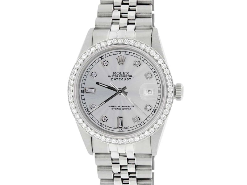 Rolex Datejust 36MM Automatic Stainless Steel Watch w/Silver Dial & Diamond Bezel