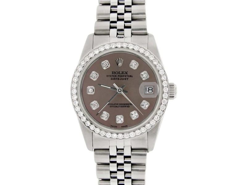 Rolex Datejust Midsize 31MM Automatic Stainless Steel Women's Watch w/Chocolate Dial & Diamond Bezel