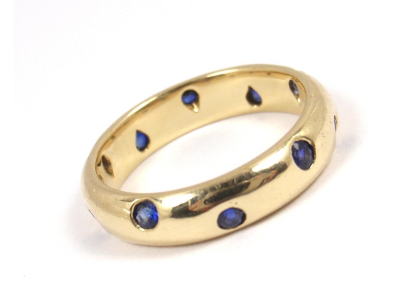 Tiffany & Co. Etoile 18K Yellow Gold Blue Sapphire Eternity Band Ring