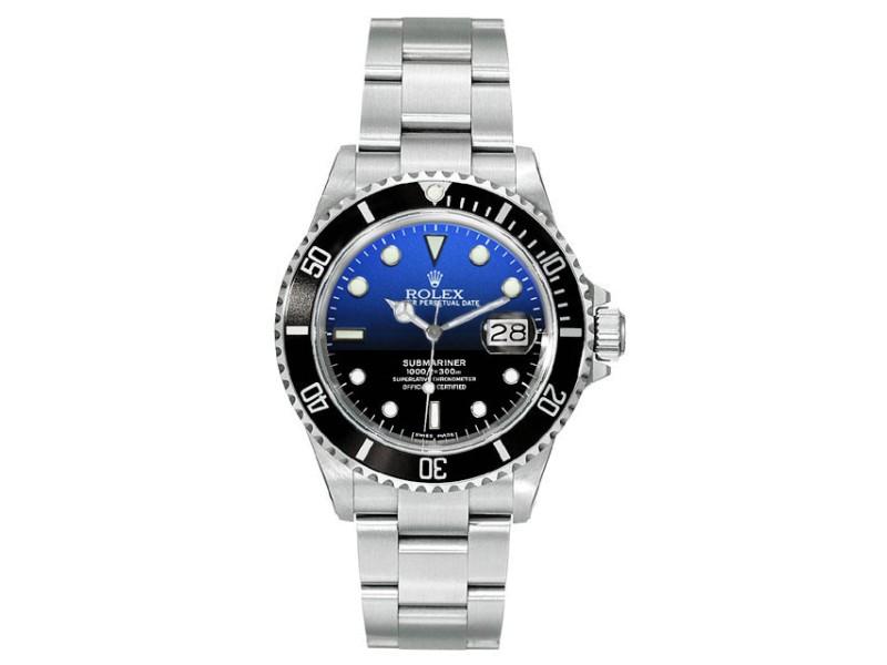 Rolex Submariner Steel Pre-Owned 16610 Custom DeepBlue 40mm Men's Watch