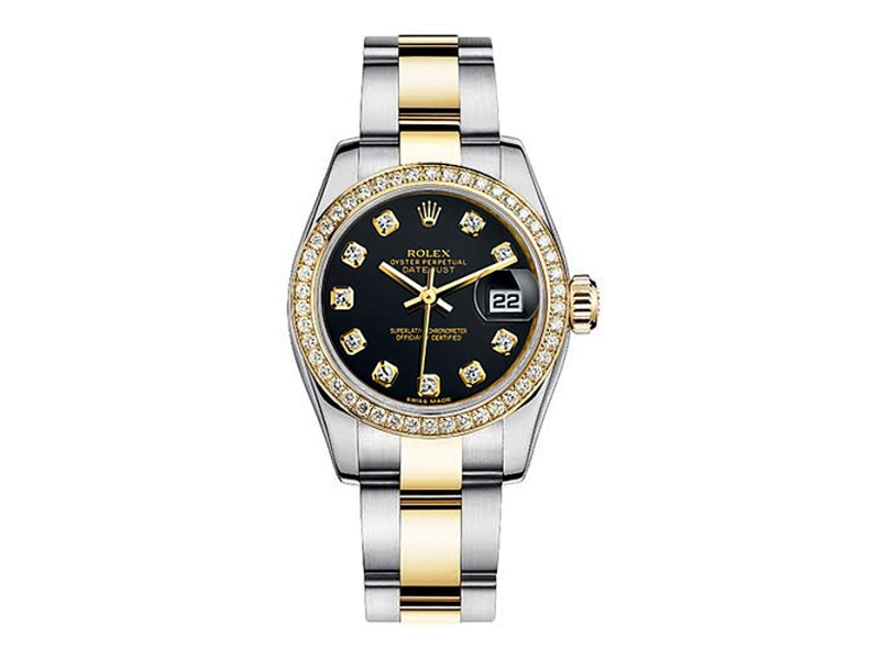 Rolex Women's New Style Two-Tone Datejust with Custom Black Diamond Dial on Oyster Band