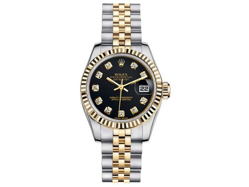 Rolex Women's New Style Two-Tone Datejust with Custom Black Diamond Dial