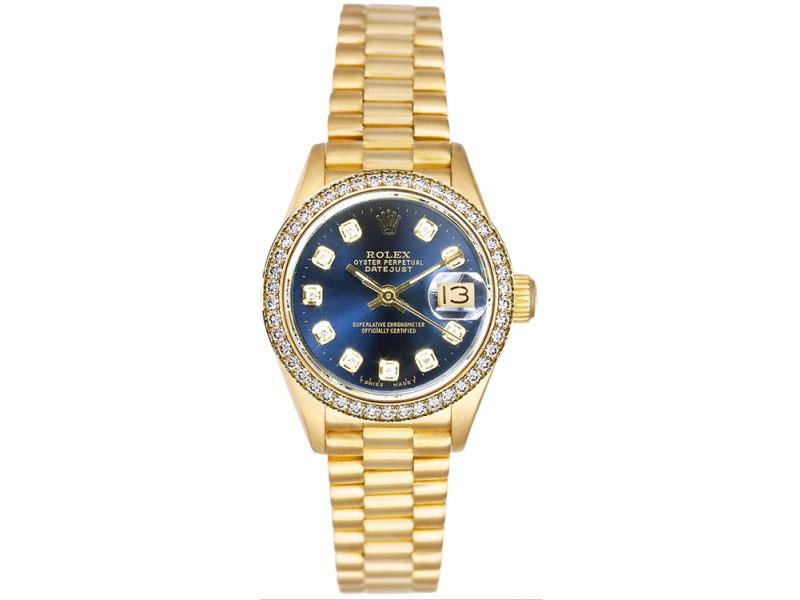 Rolex Datejust 6917 Blue Diamond Dial 26mm Women's Watch
