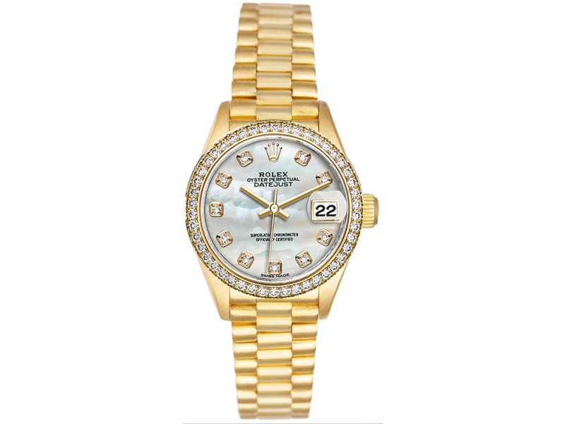 Rolex Datejust 6917 Mother of Pearl Diamond Dial 26mm Women's Watch