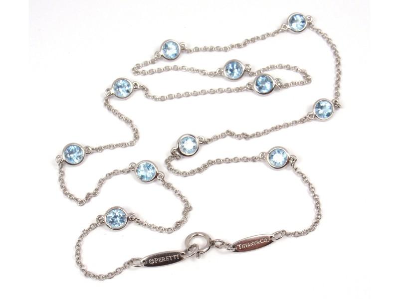 Tiffany & Co. Platinum Color By Yard Aquamarine Necklace