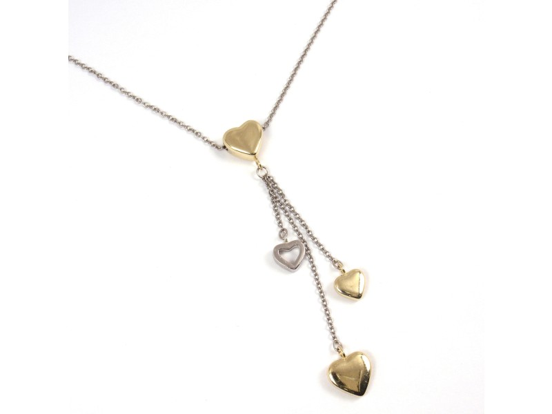 Tiffany & Co. 18K Gold Multi Hearts Drop Chain Necklace