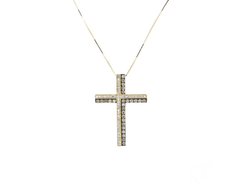 Espresso Diamond Gold Cross Pendant Necklace