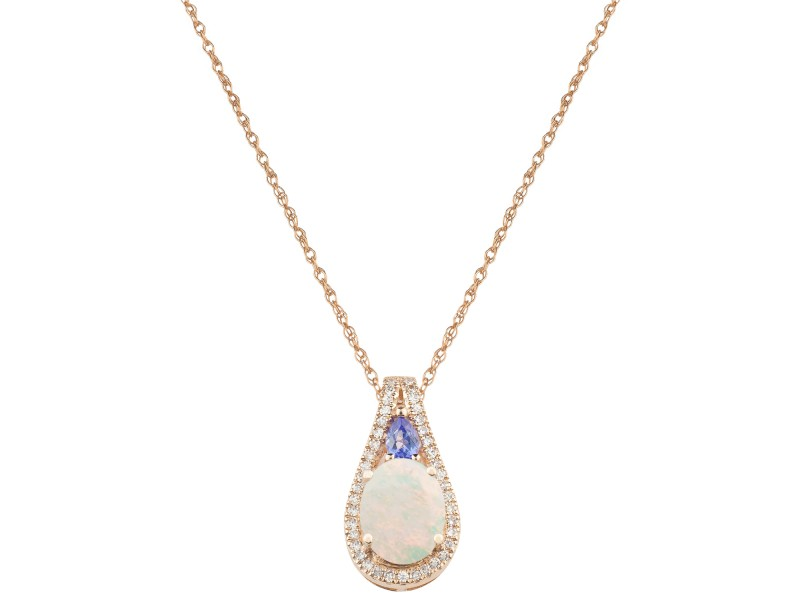 14k Rose Gold Opal Pendant Necklace