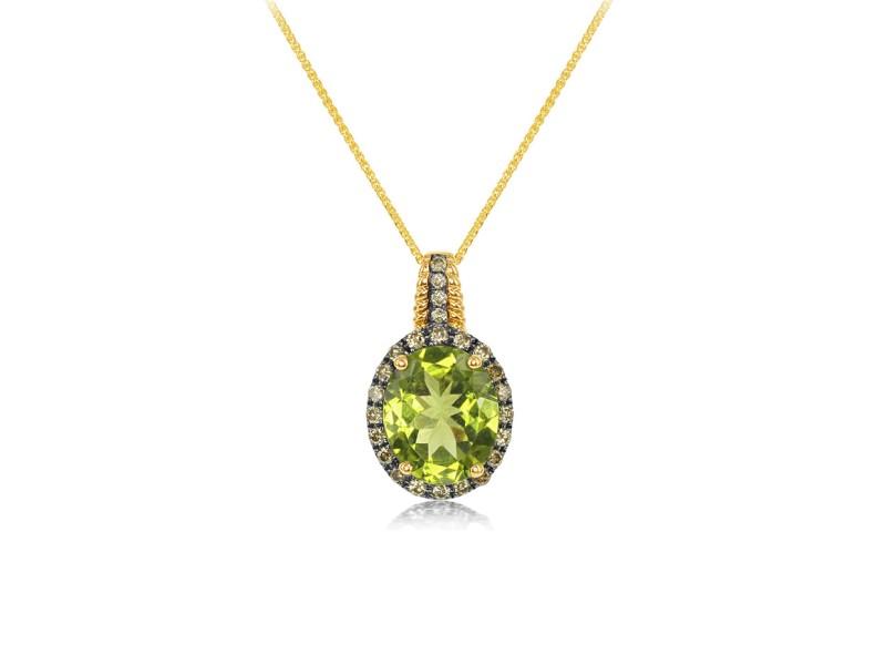 14k Yellow Gold Peridot Pendant Necklace