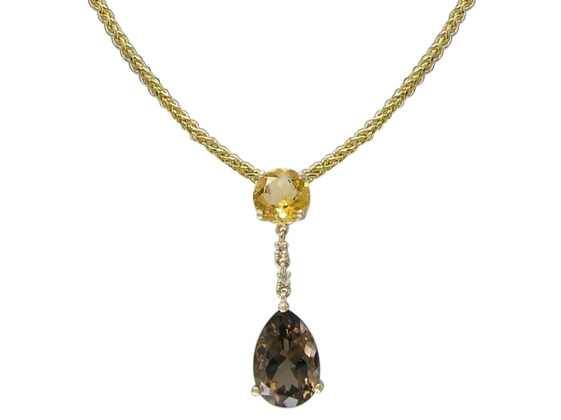 14k Yellow Gold Smoky Quartz Pendant Necklace