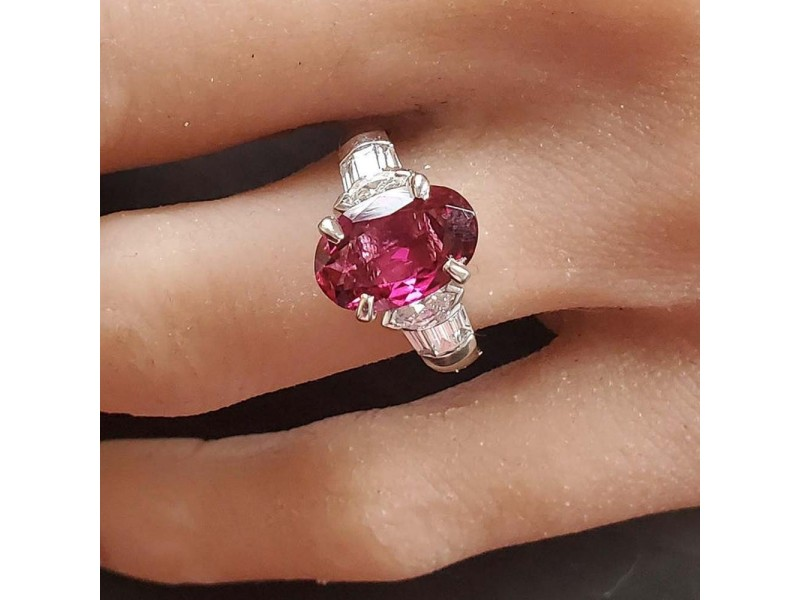 2.58 Carat Oval Rubelite and Diamond Cocktail Ring in Platinum