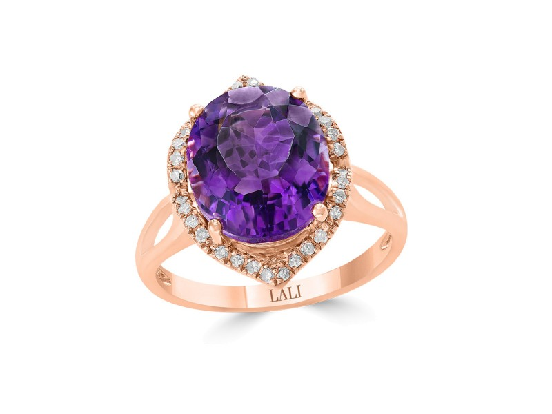 14k Rose Gold Amethyst Ring Size 7