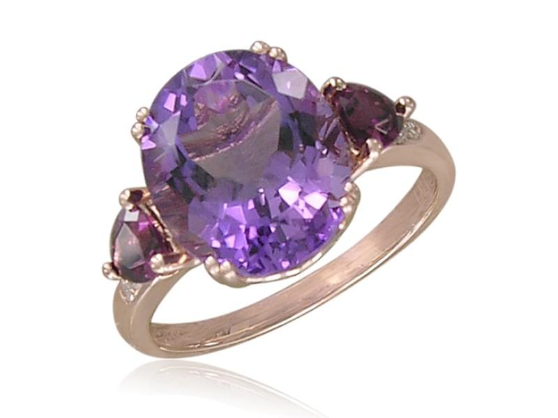 14k Rose Gold Amethyst Ring Size 7