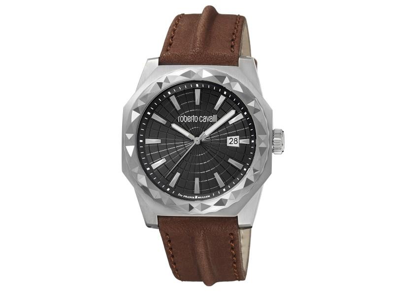 Roberto Cavalli Black  Brown Calfskin Leather RV1G018L0016 Watch