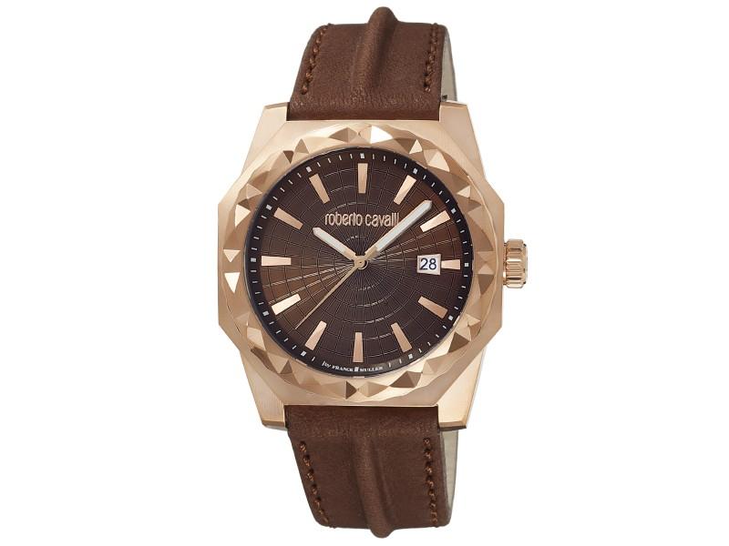 Roberto Cavalli Chocolate Brown Calfskin Leather RV1G018L0026 Watch