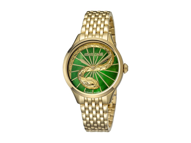 Roberto Cavalli Green MOP Gold Stainless Steel  RV1L036M0066 Watch