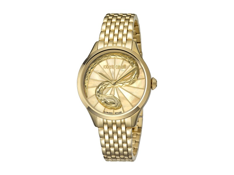 Roberto Cavalli Champagne MOP Gold Stainless Steel  RV1L036M0076 Watch
