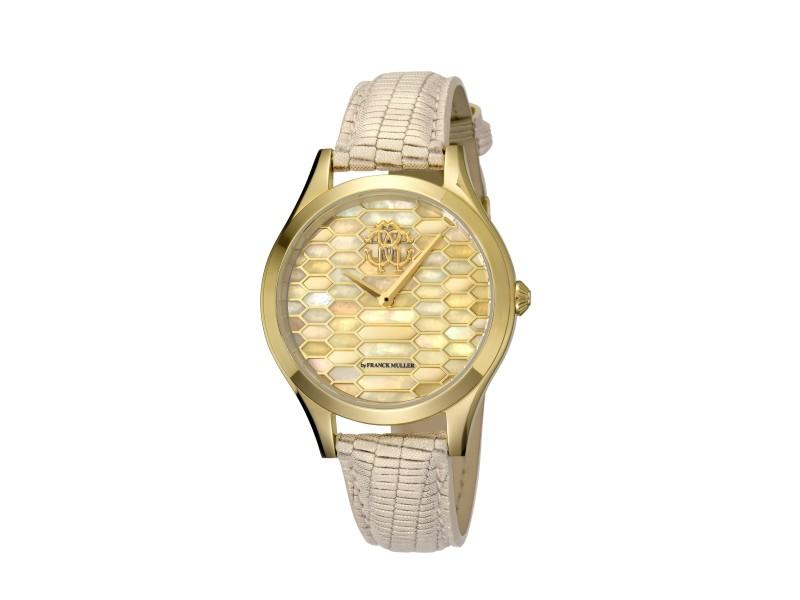 Roberto Cavalli Champagne MOP Champagne Calfskin Leather RV1L041L0026 Watch