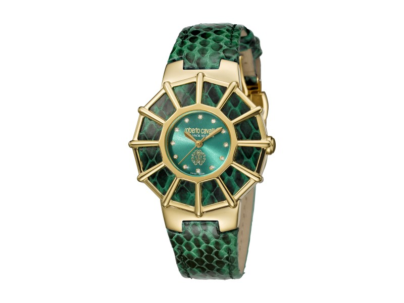 Roberto Cavalli Green Green Calfskin Leather RV2L009L0046 Watch