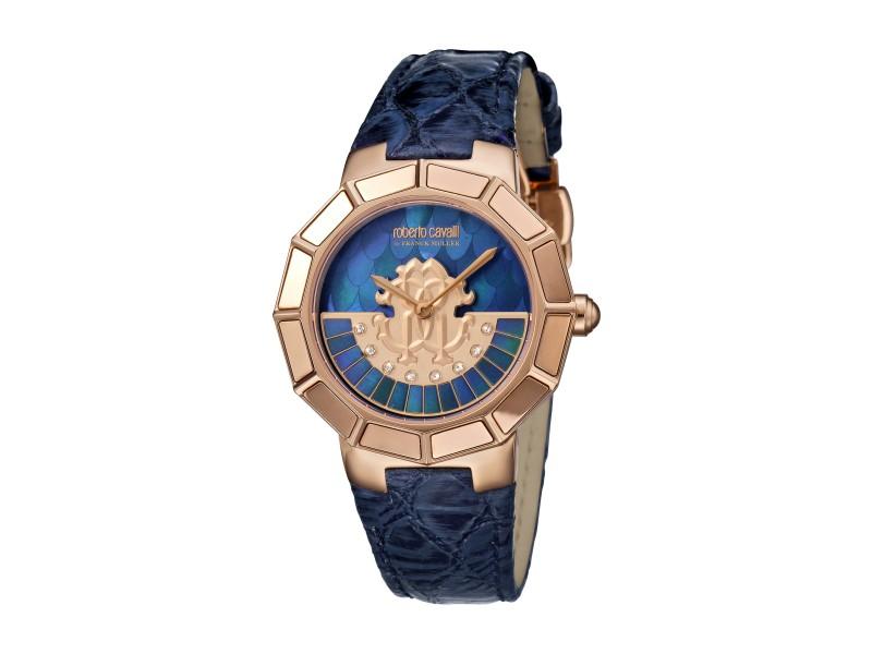 Roberto Cavalli Dark Blue MOP Dark Blue Calfskin Leather RV2L011L0076 Watch
