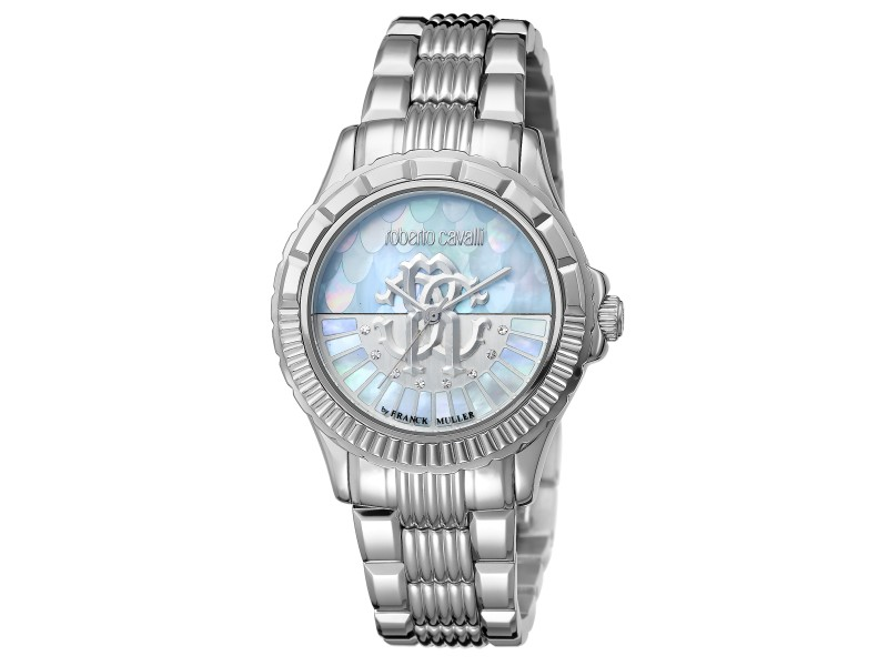 Roberto Cavalli Ice Blue  Silver Stainless Steel  RV2L014M0066 Watch